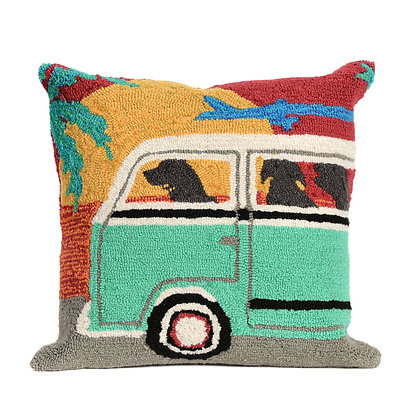 "Frontporch Beach Trip Indoor/Outdoor Pillow 18""Square"