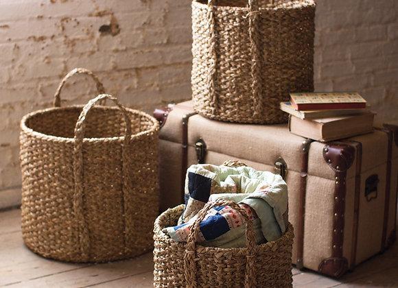 set of 3 round braided seagrass storage basket with handles