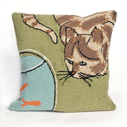 "Frontporch Cat Indoor/Outdoor Pillow 18""Square"
