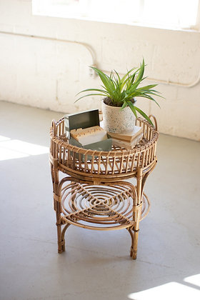 round cane table with removable tray