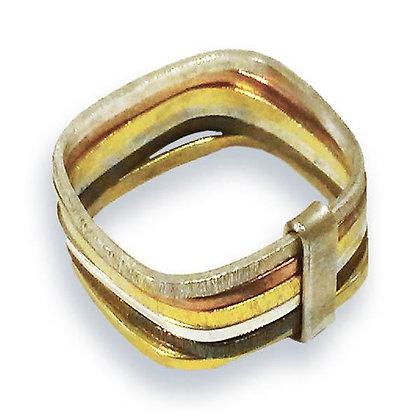 Six Multi Habimah Square Stacked Ring