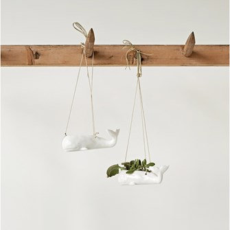 Stoneware Hanging Whale Planter, White