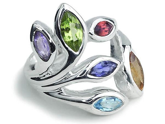 Multi Stone Leaf Ring
