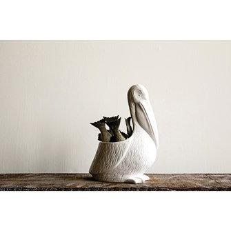 Ceramic Pelican Planter, White