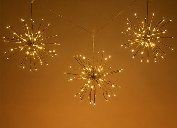 Gold Starburst Lighted Branches Warm White LED, Twinkle Set of 3