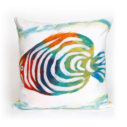 "Visions II Rainbow Fish Indoor/Outdoor Pillow 20""Square"