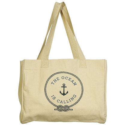BEACH TOTE, CANVAS - THE OCEAN IS CALLING
