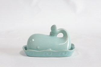 Stoneware Whale Butter Dish, Aqua