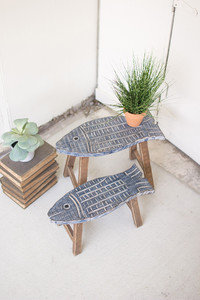 Set of 2 wooden fish stools