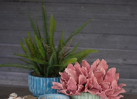 set of three clay seaside flowerpots