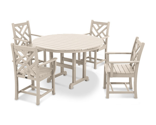 Quick Ship POLYWOOD®Chippendale 5-Piece Round Arm Chair Dining Set PWS122-1