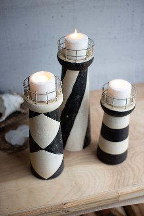 Set of 3 clay lighthouse candle pillars
