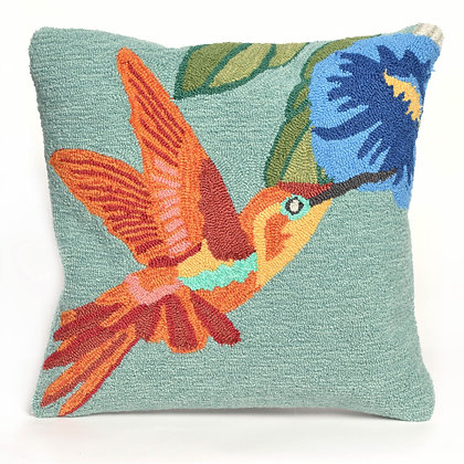 "Frontporch Hummingbird Indoor/Outdoor Pillow 18""Square"