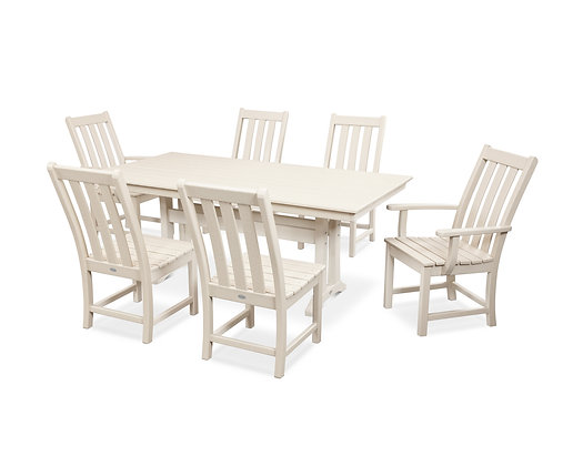 Quick Ship POLYWOOD®Vineyard 7-Piece Farmhouse Trestle Dining Set PWS340-1
