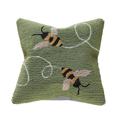 "Frontporch Buzzy Bees Indoor/Outdoor Pillow 18""Square"