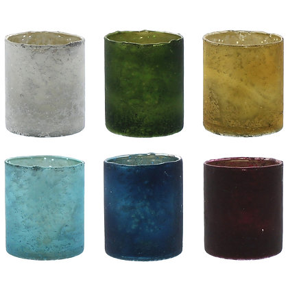 GLASS VOTIVE - SET OF 6, ASSORTED COLORS - 6 COLORS, ASSORTED
