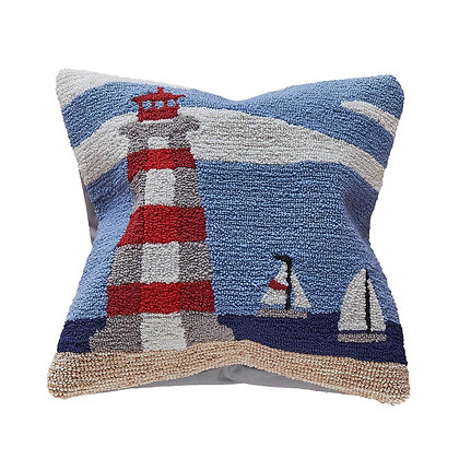 """Frontporch Lighthouse Indoor/Outdoor Pillow 18""""Square"""
