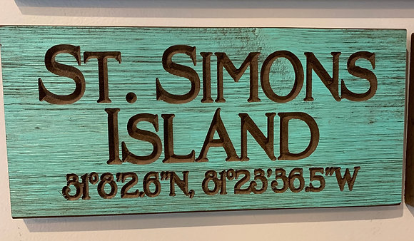 Carved Wood SSI Coordinate Sign