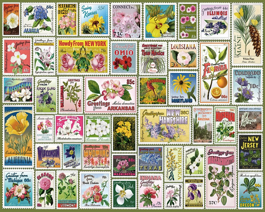 State Flower Stamps Puzzle 1000pc