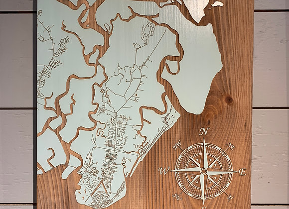 Fire & Pine Laser Engraved SSI Map Large