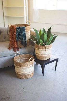Set of 3 two toned natural round baskets