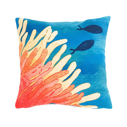 "Visions II Reef and Fish Indoor/Outdoor Pillow 20""Square"