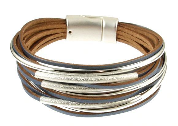 Multi Strand Silver Magnetic Bracelet