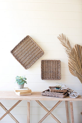 set of 5 square rattan trays