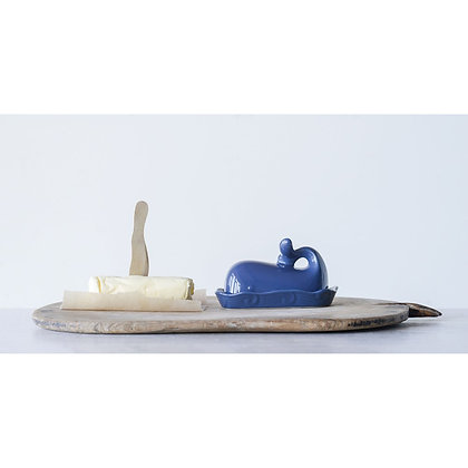 Stoneware Whale Butter Dish, Navy
