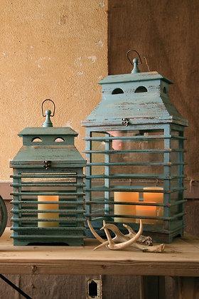 Set of 2 vintage blue shutter lanterns