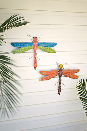 set of 2 distressed painted metal dragonflies wall art