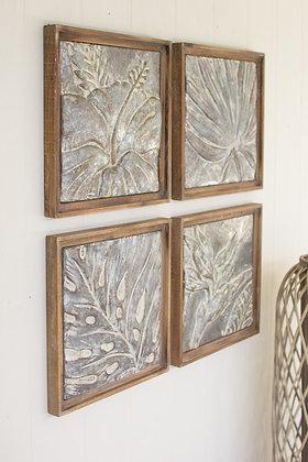 set of 4 framed tropical pressed metal tiles