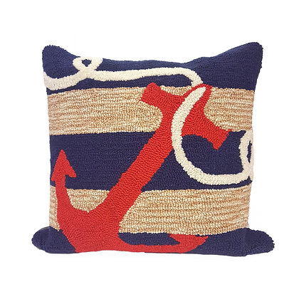 "Frontporch Red Anchor Indoor/Outdoor Pillow 18""Square"