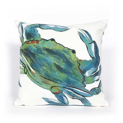 """Visions II Blue Crab Indoor/Outdoor Pillow 20""""Square"""