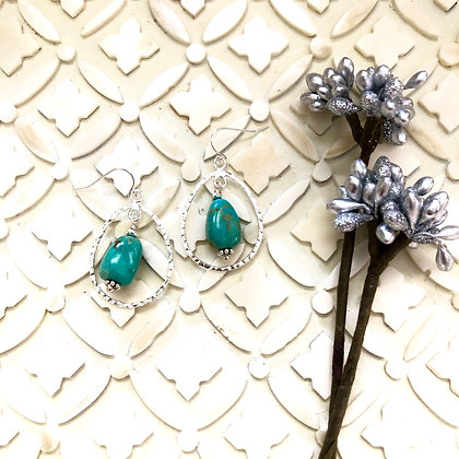 Hammered Silver Drops with Turquoise Earrings