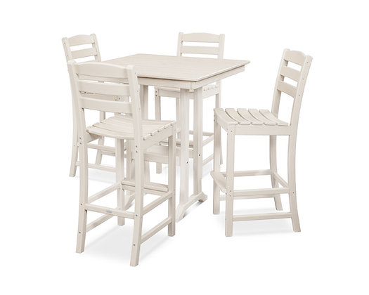 Quick Ship POLYWOOD®La Casa Cafe 5-Piece Farmhouse Trestle Dining Set PWS435-1
