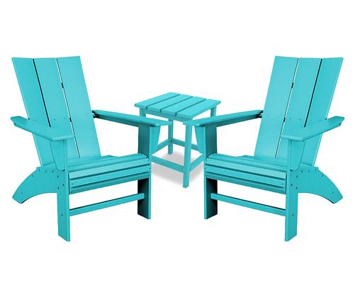 POLYWOOD® 3-PC Modern Curveback Adirondack Chair SET