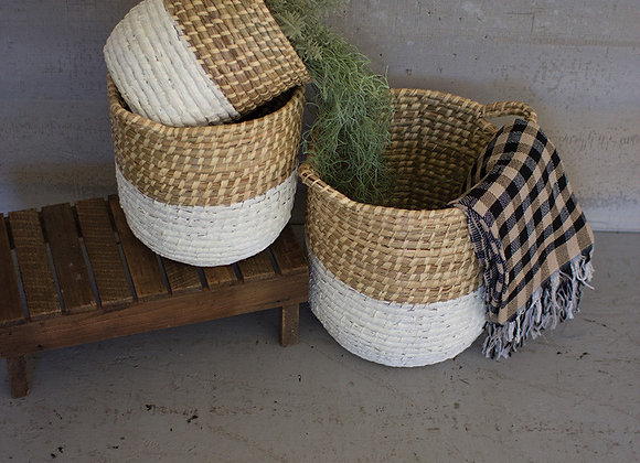 set of 3 white dipped seagrass hampers with handles