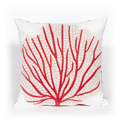 "Visions II Coral Fan Indoor/Outdoor Pillow 20""Square"