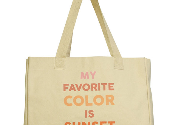 BEACH TOTE, CANVAS - MY FAVORITE COLOR IS SUNSET