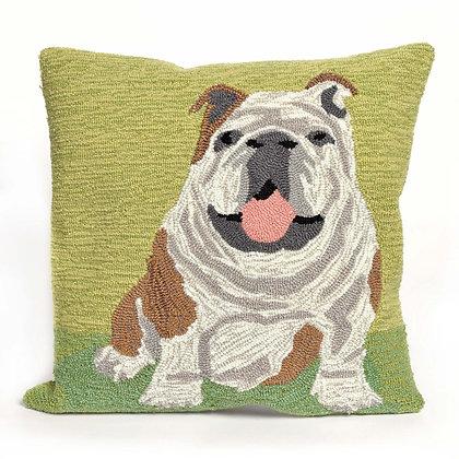 "Frontporch Bulldog Indoor/Outdoor Pillow 18""Square"