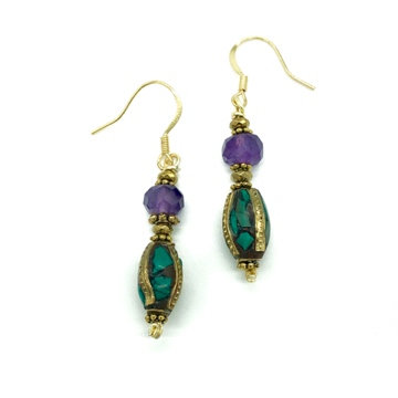 Amethyst and Antique brass inlay with Turquoise bead Earrings