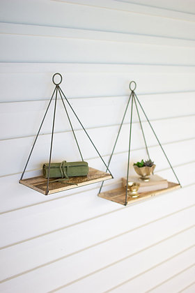 set of 2 triangle shelves with recycled wood