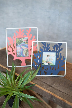 set of 2 painted metal coral photo frames