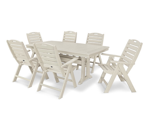 Quick Ship POLYWOOD®7 Piece Nautical Dining Set PWS296-1
