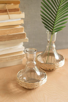 set of 2 seagrass wrapped flared vases