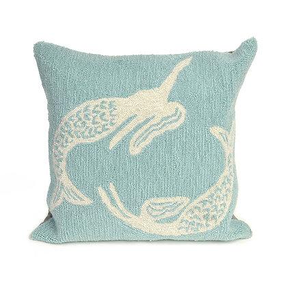 """Frontporch 2 Mermaids Indoor/Outdoor Pillow 18""""Square"""