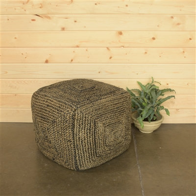SANTA CRUZ HEMP POUF - SQUARE - WASHED STONE BLUE