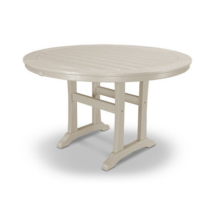 "POLYWOOD® Nautical Trestle 48"" Round Dining Table RT448-L1"