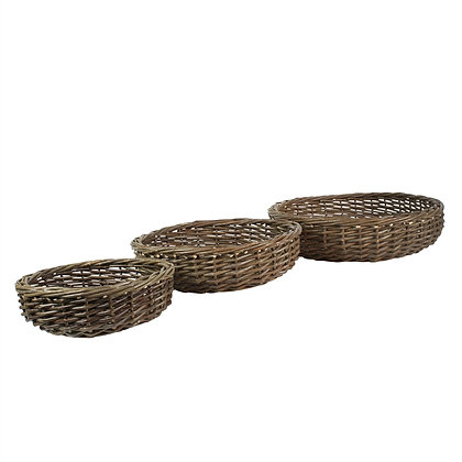 WILLOW BASKETS LOW ROUND - SET OF 3 - NATURAL